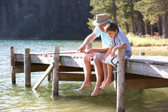 Grandad and grandson fishing Royalty Free Stock Photography