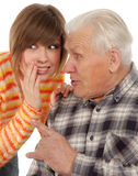 Grandad- und Enkelinklatschen Stockfoto