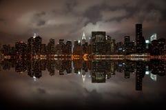 Grandangolare dell'orizzonte di New York Immagini Stock