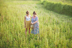 Grandaughter and grandmother walking in a field Stock Images