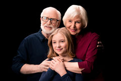 Grandchild, grandfather and grandmother together Royalty Free Stock Image