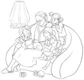 Grandchildren listening their grandmother reading a book fairy tales Stock Photos