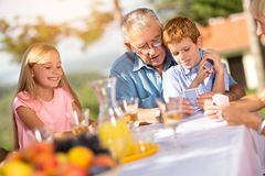 Grandchildren is playing cards Stock Image