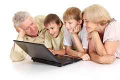 Grandchildren with their favorite grandparents Royalty Free Stock Images