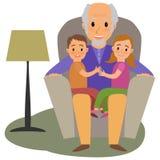 Grandchildrens and granddad on the sofa Stock Photo