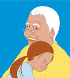 The granddaughter embraces grandfather. Vector The granddaughter embraces grandfather Stock Illustration