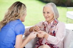 Granddaughter Giving Medicines To Happy. Grandmother at nursing home porch Royalty Free Stock Image