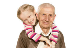 Granddaughter and grandfather Royalty Free Stock Photography
