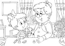 Granddaughter and grandma. Black-and-white illustration (coloring page): little girl and her grandma at table in a kitchen Royalty Free Stock Images