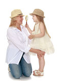 Granddaughter with grandmother Royalty Free Stock Photo