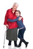 Granddaughter and grandmother with hearts Royalty Free Stock Images