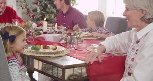 Granddaughter and Grandmother playing with stuffed toy reindeer as family sit around table enjoying Christmas meal together stock video