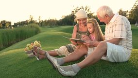 Granddaughter sitting with grandparents outdoors. stock footage