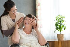 Granddaughter surprising her grandmother Stock Photos