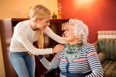 Free Granddaughter Visit Her Sick Grandma Stock Photography - 113922132