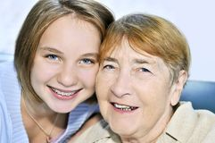 Granddaughter visiting grandmother Royalty Free Stock Photography
