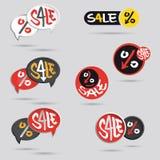 Grande étiquette de vente réglée avec le signe de pour cent Photo libre de droits