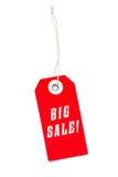 Grande étiquette rouge de label de vente Photographie stock