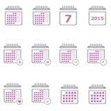 Grande ícone do calendário do planejador ajustado para aplicações e Web Foto de Stock Royalty Free