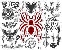 Grande accumulazione del tatuaggio (elementi del tatuaggio - simboli) Immagini Stock