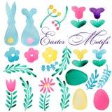 Grande accumulazione di pasqua Coniglietto, varie uova decorative, nastri, pianta Pittura rosa, verde, gialla, blu Colore di acqu Fotografia Stock