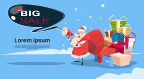 Grande acquisto di Black Friday di vendita di festa di Santa Clause Present Box Stack Fotografia Stock Libera da Diritti