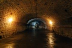 Grande adega arcado subterrânea escura velha vazia fotos de stock
