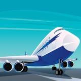 Grande aereo passeggeri moderno sulla pista illustrazione di stock
