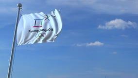 Grande aeroplano commerciale che viaggia in Corea del Sud sopra la bandiera d'ondeggiamento con un logo di 2018 olimpiadi inverna illustrazione vettoriale