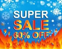Grande affiche de vente d'hiver avec la VENTE SUPERBE 60 POUR CENT OUTRE de texte Bannière de vecteur de la publicité Photos libres de droits