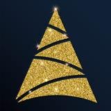 Grande albero di Natale di scintillio dorato Immagini Stock