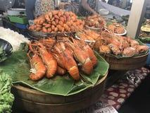 Grande alimento della via della Tailandia Bangkok del gamberetto della tigre immagini stock libere da diritti
