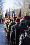 Back view of veterans from different regiments and groups parading at the Remembrance Day Ceremony stock photos