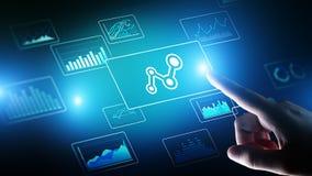 Grande analisi dei dati, business intelligence, concetto delle soluzioni di tecnologia sullo schermo virtuale illustrazione vettoriale
