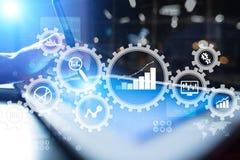 Grande analisi dei dati di dati Concetto di business intelligence della BI con le icone del grafico e del grafico sullo schermo v illustrazione vettoriale