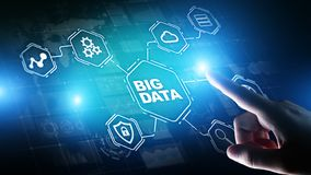 Grande analisi dei dati piattaforma, business intelligence e concetto moderno di dati di tecnologia sullo schermo vitual immagini stock libere da diritti