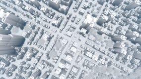 Grande animazione moderna astratta di vista aerea 4K della città illustrazione vettoriale