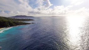 Grande Anse aerial view - La Digue Island, Seychelles Stock Image