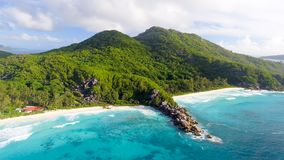 Grande Anse aerial view - La Digue Island, Seychelles Stock Images
