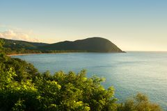 Grande anse beach,Guadeloupe, French West Indies. Grande anse beach point of view at evening, Guadeloupe, French West Indies stock images
