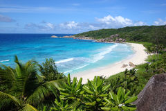 Grande Anse. Beach on the west coast of La Digue, Seychelles Royalty Free Stock Photography