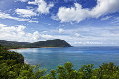 Grande Anse, Deshaies, het eiland van Guadeloupe stock foto