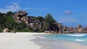 Grande Anse, isola di Digue della La, Seychelles Fotografia Stock Libera da Diritti