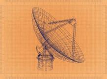 Grande antenne parabolique - rétro modèle illustration de vecteur