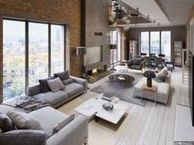 Grande appartamento stile sottotetto moderno con i sofà, poltrona, camino, muro di mattoni, tavolo da pranzo illustrazione vettoriale