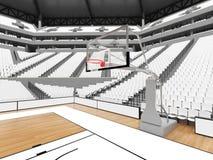 Grande arène moderne de basket-ball avec les sièges blancs Photo libre de droits