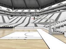 Grande arène moderne de basket-ball avec les sièges blancs Photographie stock