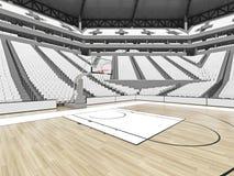 Grande arène moderne de basket-ball avec les sièges blancs Photo stock