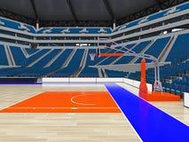 Grande arène moderne de basket-ball avec les sièges bleus Images stock
