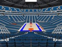 Grande arène moderne de basket-ball avec les sièges bleus Image libre de droits
